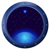 Window with blue planet — Stock Vector