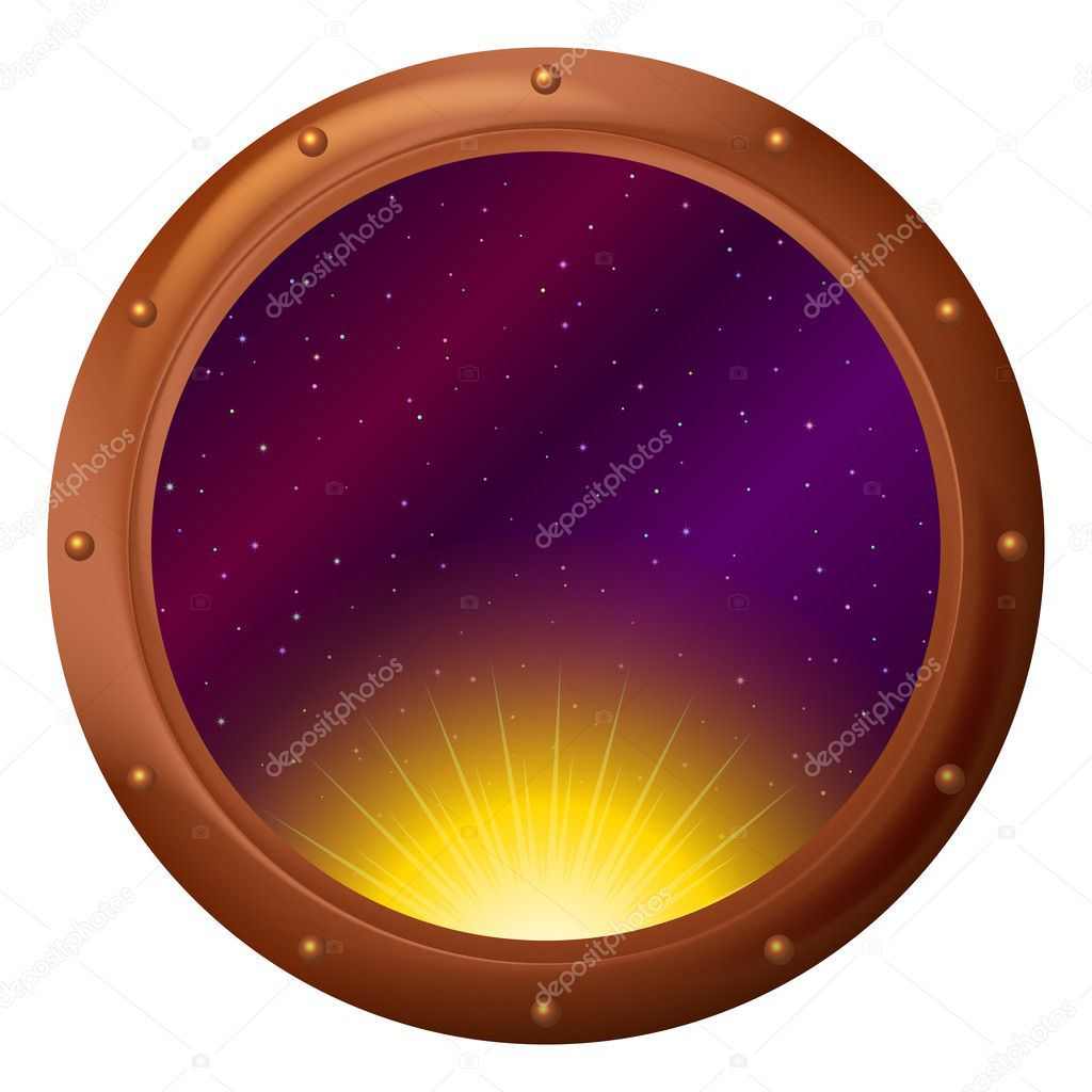 Space ship window porthole: sun partially putting out — Stok fotoğraf #10338505