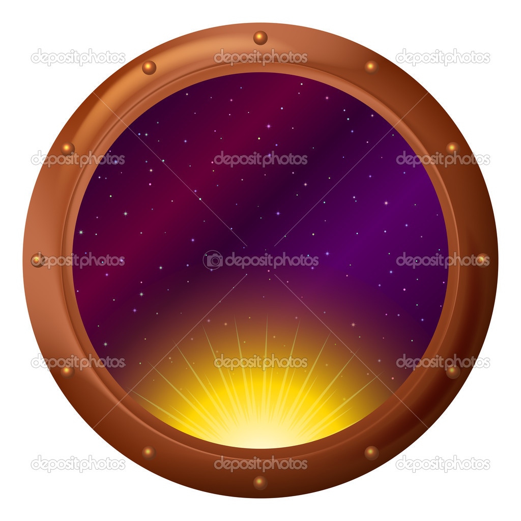 Space ship window porthole: sun partially putting out  Stock Photo #10338505