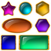 Buttons with multicolored gems, set — Stock Vector