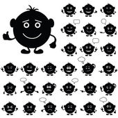 Smilies round, set, black — Stock Photo