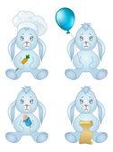 Rabbits sitting with gift, set — Stock Photo