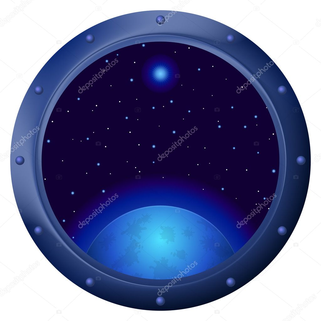 Space ship window porthole with dark blue sky, planet and stars — Stock Photo #10499132