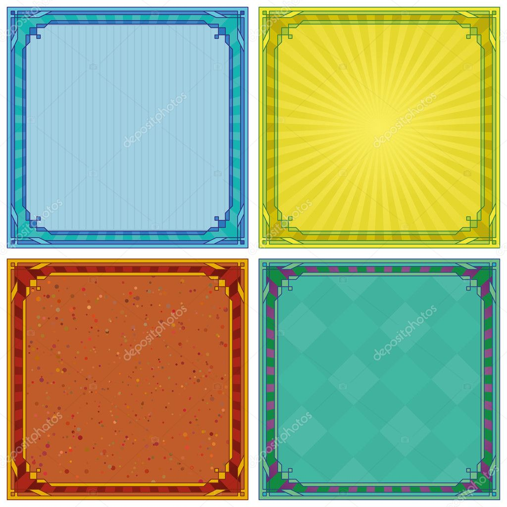 Abstract background with square symmetric frame, set  Stock Photo #10661812
