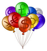 Balloons with currency signs — Stock Vector