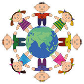 Children standing around Earth — Stock Photo