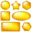 Golden buttons, set — Stock Vector