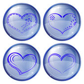 Buttons, valentine heart, set — Stock Vector