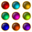 Stock Vector: Buttons with gems, set, round