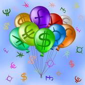 Balloons with currency signs in sky — Stock Vector