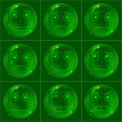 Bubbles smileys, green — Stock Photo