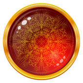 Golden button with patterned red gem — Stock Vector