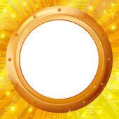 Frame porthole on gold background — Stock Vector