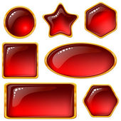 Buttons with red gems, set — Stock Vector