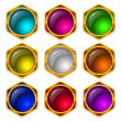 Buttons with gems, set, round — Stock Vector #8990666