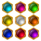 Buttons with gems, set, round — Stock Vector