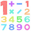 Set of numbers with radiant pattern - Stock fotografie
