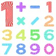 Set of numbers with radiant pattern - Stock Photo