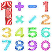 Set of numbers with radiant pattern — 图库照片