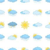 Símbolos meteorológicos, inconsútiles — Vector de stock