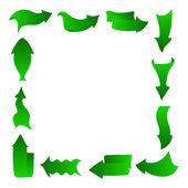 Abstract arrows, frame, green — Stock Vector