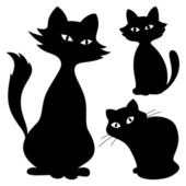 Cats, silhouette, set — Stock Vector