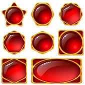 Przyciski z czerwonych kamieni — Wektor stockowy