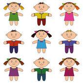 Children, boys and girls, set — Stock Vector