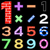 Numbers set different — Stock Vector