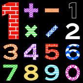 Numeri impostati differenti — Vettoriale Stock