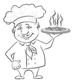 Cook holds a hot pizza, contour — Stock Photo