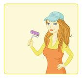 Pintor de la chica con un rodillo de pintura — Foto de Stock