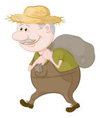 Man carries a sack — Stock Photo