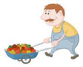 Män drivs lastbil med grönsaker — Stockvektor