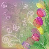 抽象的な背景の花チューリップ — ストックベクタ