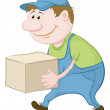 Stock Vector: Porter carries box