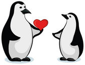 Penguins with Valentine heart — Stok fotoğraf