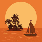 Sailing boat in the tropical sea — Stock Photo