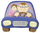 Voiture, conducteur et passager — Photo