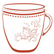 China cup with a pattern, pictogram — Stock Photo