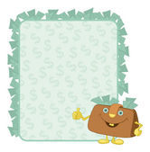 Purse and poster with dollars — Stock Vector
