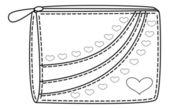 Portemonnee met valentijn harten, contouren — Stockvector