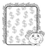 Purse and poster with dollars, contours — Vector de stock