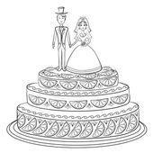 Urlaub-torte mit braut und bräutigam, contour — Stockvektor