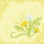 Flowers on a brown and yellow background — Stock Vector