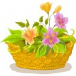 Cтоковый вектор: Basket with flowers alstroemeria