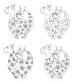 Dragons with patterns, contours — Stock Vector