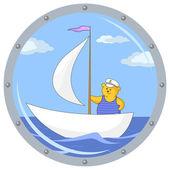 Teddy bear on ship — Foto de Stock