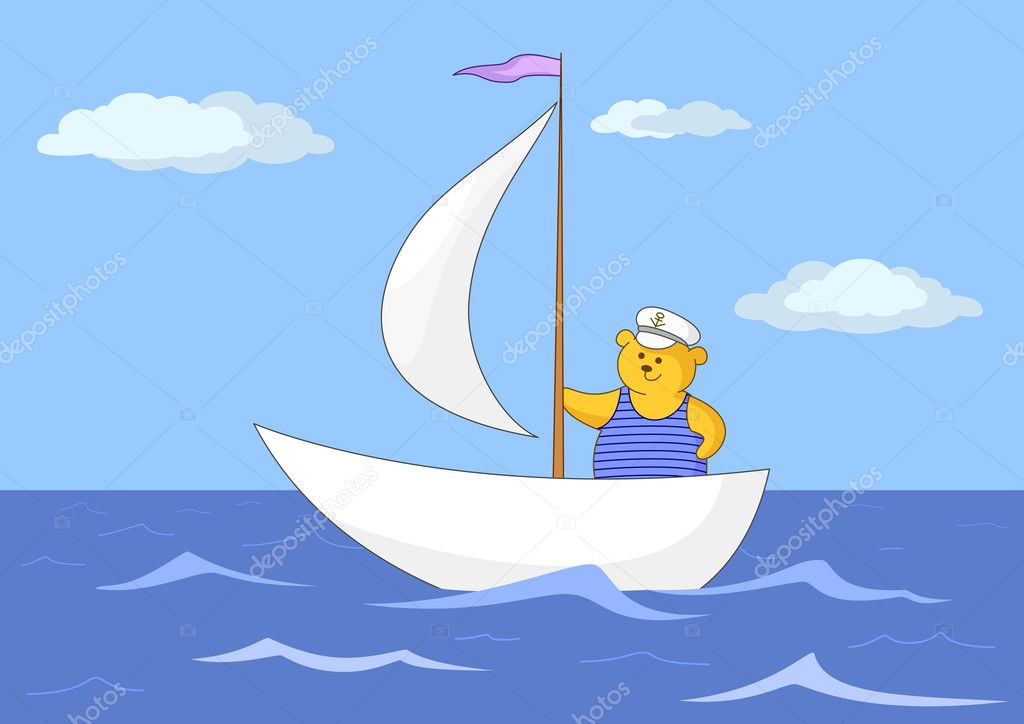 Teddy-bear seaman floats on a sailing vessel on the dark blue sea — Stock Photo #9140448