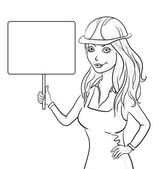 Girl worker holding a sign, contours — Stock Photo
